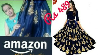 Amazon lehenga haul & review || amazon online shopping reviews || velvet lehenga rs 489