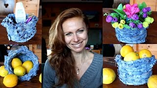 DIY recycling - How to make basket from old jeans