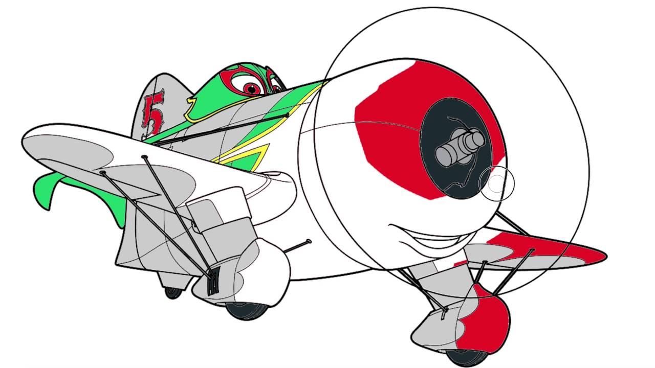 Colorear Personajes De Disney 5 Juego Para Pintar: Pintando Aviones