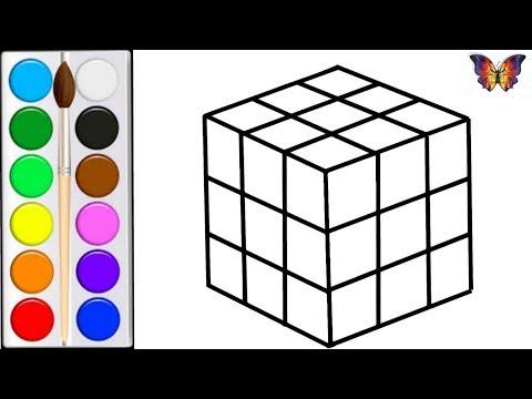 Как нарисовать КУБИК РУБИКА / мультик раскраска КУБИК РУБИКА  для детей / Раскраски Малышам