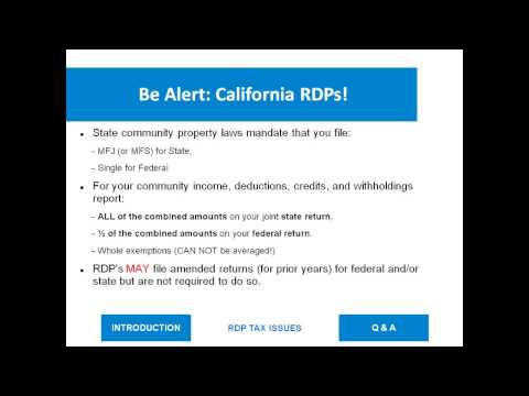 Registered Domestic Partnership (RDP) Taxes (Webinar)