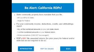 Registered Domestic Partnership (RDP) Taxes (Webinar)