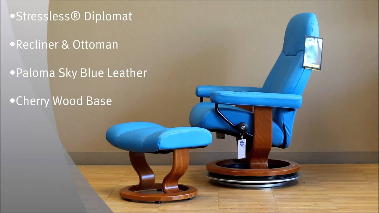 Stressless Diplomat Recliner and Ottoman in Paloma Sky Blue Leather and Cherry Wood Base by Ekornes - YouTube & Stressless Diplomat Recliner and Ottoman in Paloma Sky Blue ... islam-shia.org