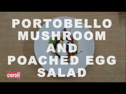 Portobello and poached egg salad with baby spinach Revised