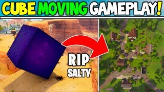 *NEW* FORTNITE CUBE MOVING GAMEPLAY! GOODBYE SALTY SPRINGS?! (Cube Event Moving Battle Royale)