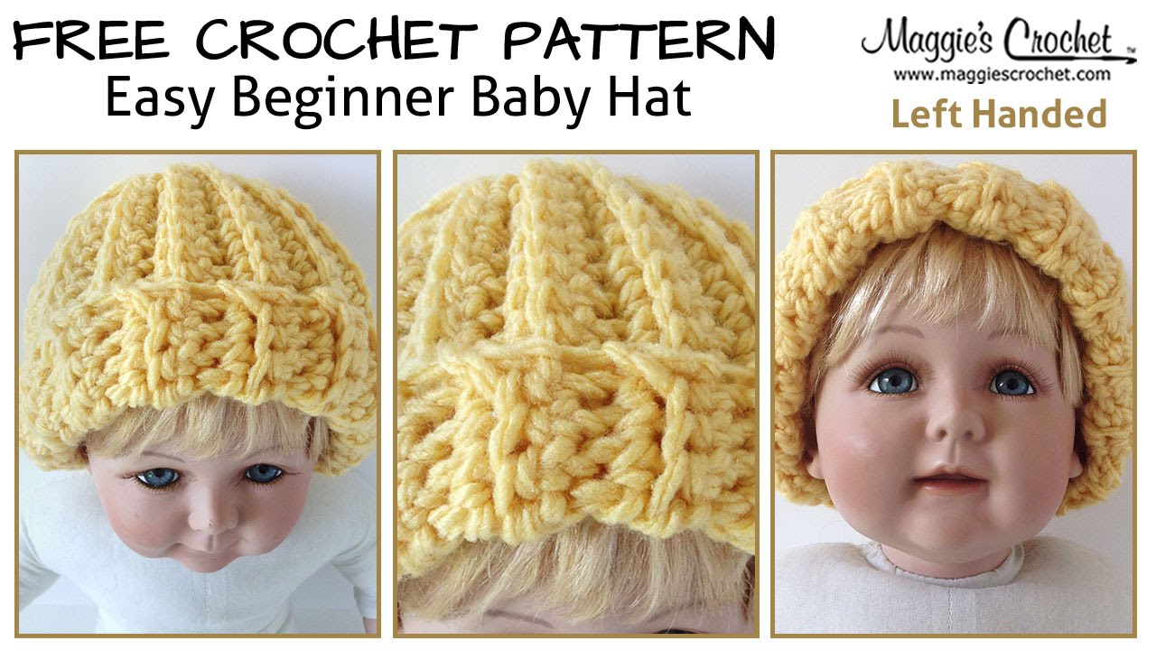Beginner Left Handed Crochet Patterns : Easy Beginner Baby Hat Free Crochet Pattern - Left Handed ...