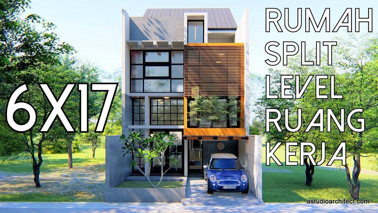 Rumah 6x17 berkonsep Split Level Ruang Kerja kode 095