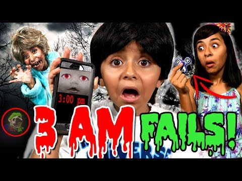 3AM Challenge Gone Wrong - Parody Skit - 3 AM Slime Haunted Ghost : SKETCH COMEDY // GEM Sisters