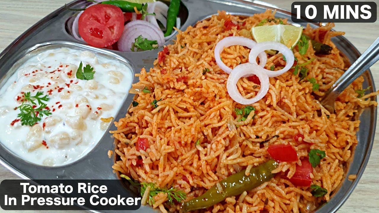 Simple and Quick Tomato Rice in Pressure Cooker | How to make Tomato Rice In Cooker | Kanaks Kitchen