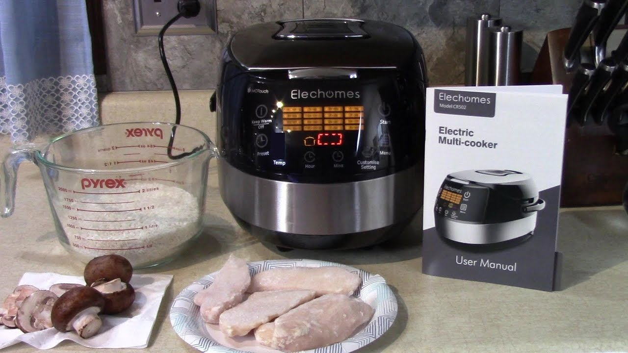 Elechomes Multi Cooker Chicken + Rice with Mushrooms - YouTube