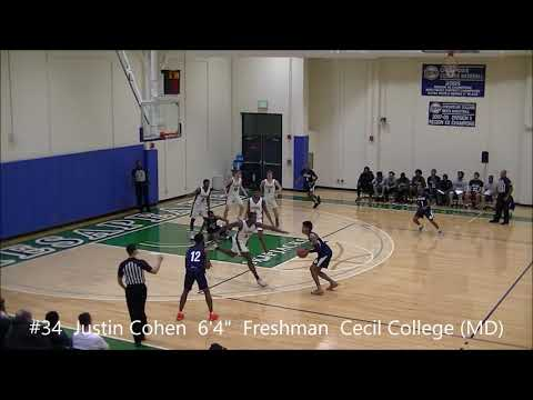 """#34  Justin  Cohen  6' 4""""  Freshman  Cecil College (MD)"""