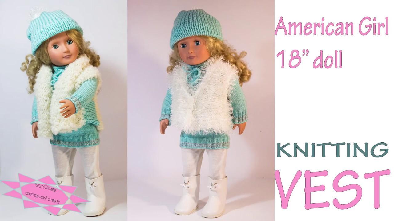 Doll vest knitting pattern Stockinette stitch Wika crochet - YouTube