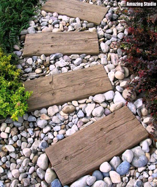 DIY Garden Path Wood And Stone