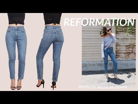 REFORMATION Regular vs. Petite Denim Jeans Try On Haul + Review | JULIA SUH