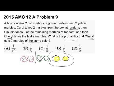 2015 AMC 12 A Problem 9 (Probability, Marbles, Counting)