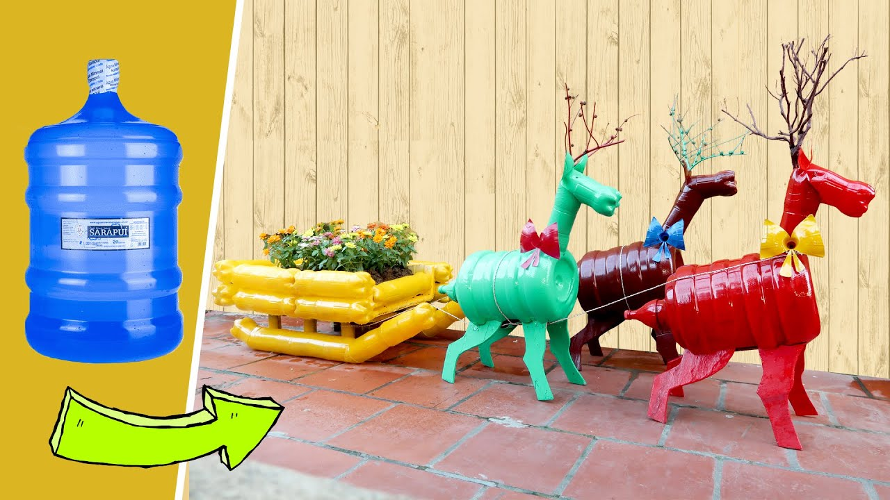 Recycling Plastic Bottles into Reindeer Christmas Decoration for Your Garden