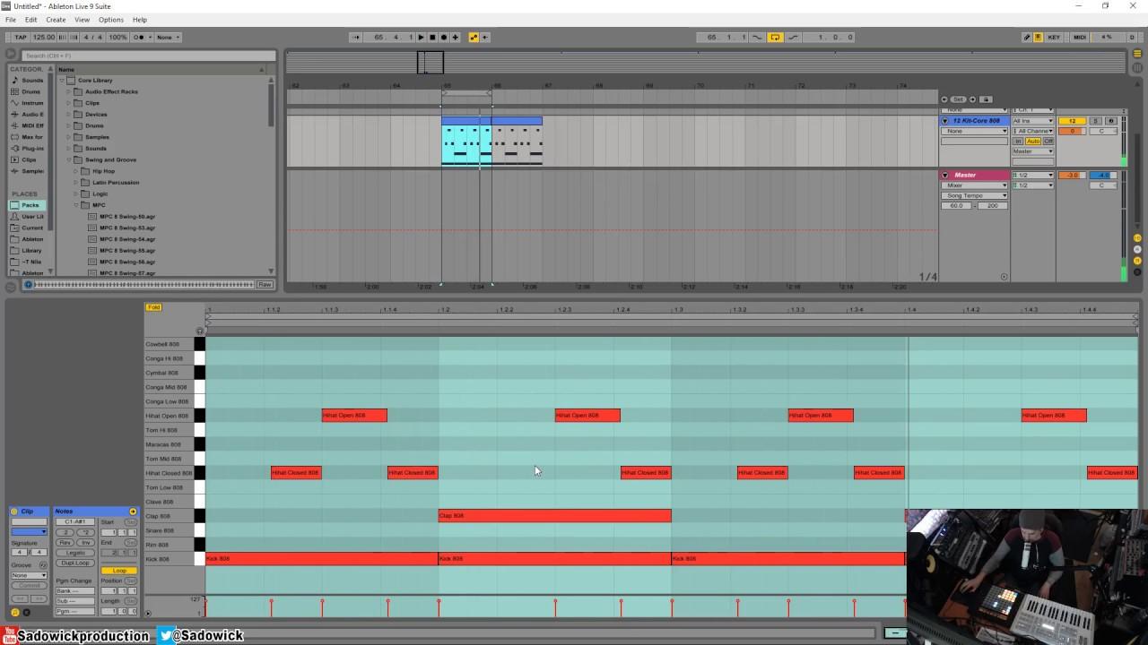 Ableton Live 9 - Basic House Beat Using Drum Racks & Swing