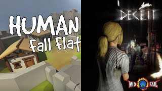Human Fall Flat & Deceit --shout-casting Road to 130K Subs