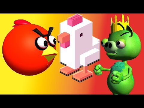 CROSSY ROAD with ANGRY BIRDS  ♫  3D animated  mashup  ☺ FunVideoTV - Style ;-))