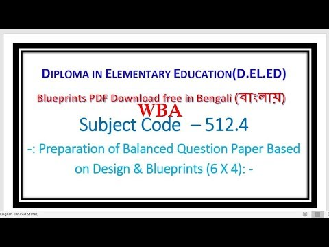 Wba 512 4 Blueprints Preparation Of Balanced Question Paper In