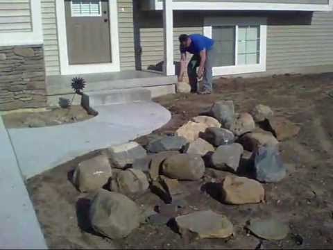 project man rock work - front yard