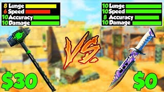 $0 vs $30 Melee Weapon - WHICH IS BETTER?