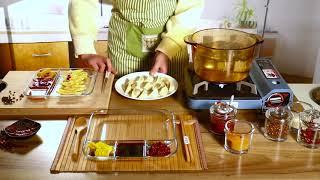 유리식판 나눔접시 내열 혼밥 다이어트 식기 사각