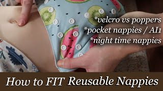 HOW TO FIT CLOTH NAPPIES   VELCRO, POPPERS, POCKET & NIGHT TIME NAPPIES