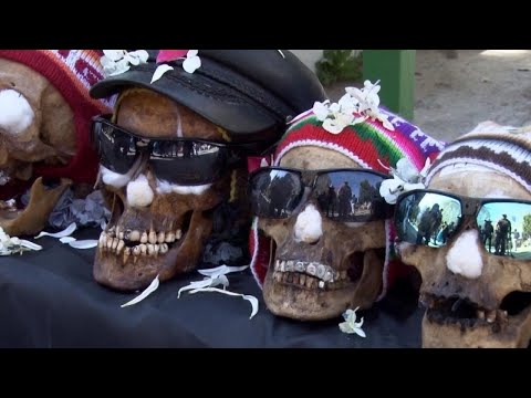 Human Skulls Dressed and Blessed for Pagan Holiday