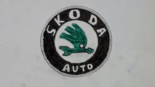 How to draw the Skoda Auto logo