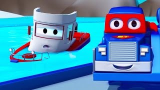 Трансформер Карл и Лодка в Автомобильном Городе| Мультик про грузовички для детей
