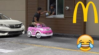 McDonald's Drive Thru Prank In A Power Wheels!