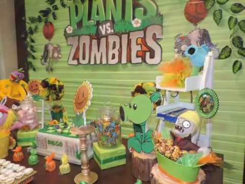 Show de plantas vs zombies youtube for Decoracion con globos plantas contra zombies