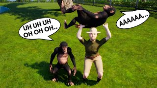 2 SILLY MONKEYS MAKING A MESS IN THE ZOO AND ZOOKEEPER TRIES TO STOP THEM in ZOOKEEPER SIMULATOR