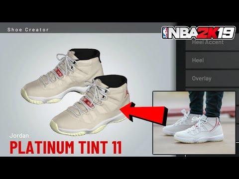 """HOW TO MAKE AIR JORDAN 11 """"PLATINUM TINT"""" IN NBA 2K19 - NBA 2K19 SHOE CREATOR"""