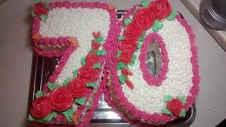 Торт для женщины на юбилей 70 лет.Торт Цифра.Торт цифра 70