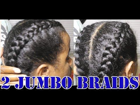 2 Jumbo Braids On Stretched Men Natural Hair