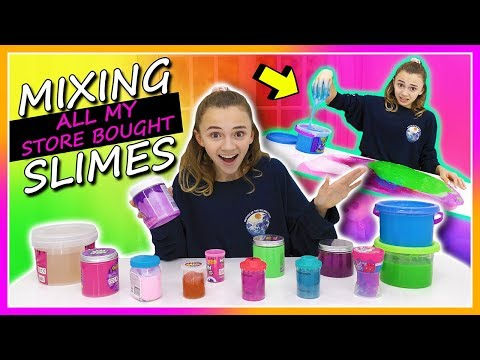MIXING ALL MY STORE BOUGHT SLIMES | Kayla Davis