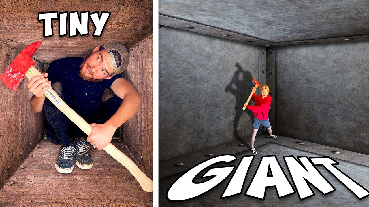 Download Tiny vs GIANT Unbreakable Boxes! *TRAPPED INSIDE CHALLENGE*