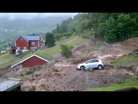 Norway rain flood flooding landslip July 2017 / Norwegen Unwetter Regen Flut Erdrutsch