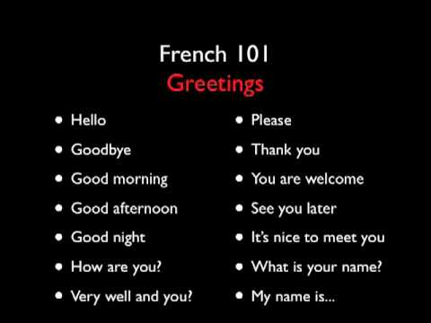 Learn French with French 101 - Greetings - Level One