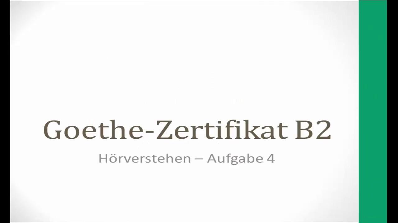 Goethe B2 Neu Hörverstehen Teil 4 Lösungen Im Blog Youtube