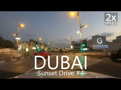 4K Sunset Drive in Dubai#4: Downtown to Jumeirah St [UAE Drive#3-9]