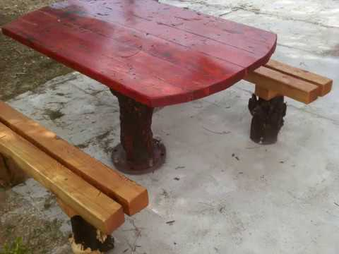mesa de madera reciclada para jardin youtube. Black Bedroom Furniture Sets. Home Design Ideas