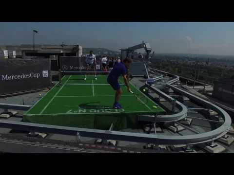 Federer Haas Play Rooftop Tennis In Stuttgart