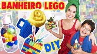 DIY LEGO! REFORMEI O BANHEIRO DO MEU IRMÃO SEM QUEBRAR NADA | Paula Stephânia