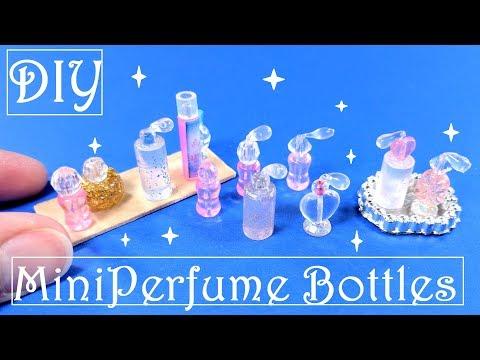 DIY Miniature Perfume Bottles & Tray - Dollhouse Beauty Products