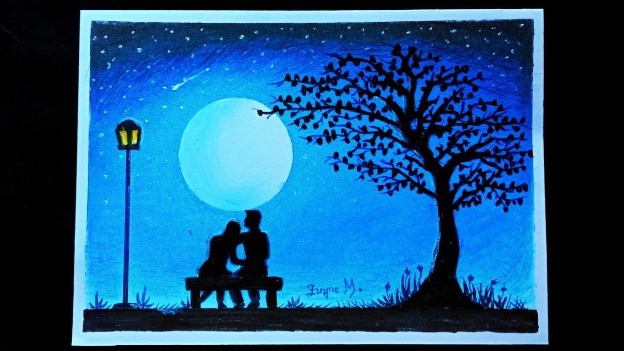 Amazing Cara Menggambar Pemandangan Malam Hari Romantis Youtube