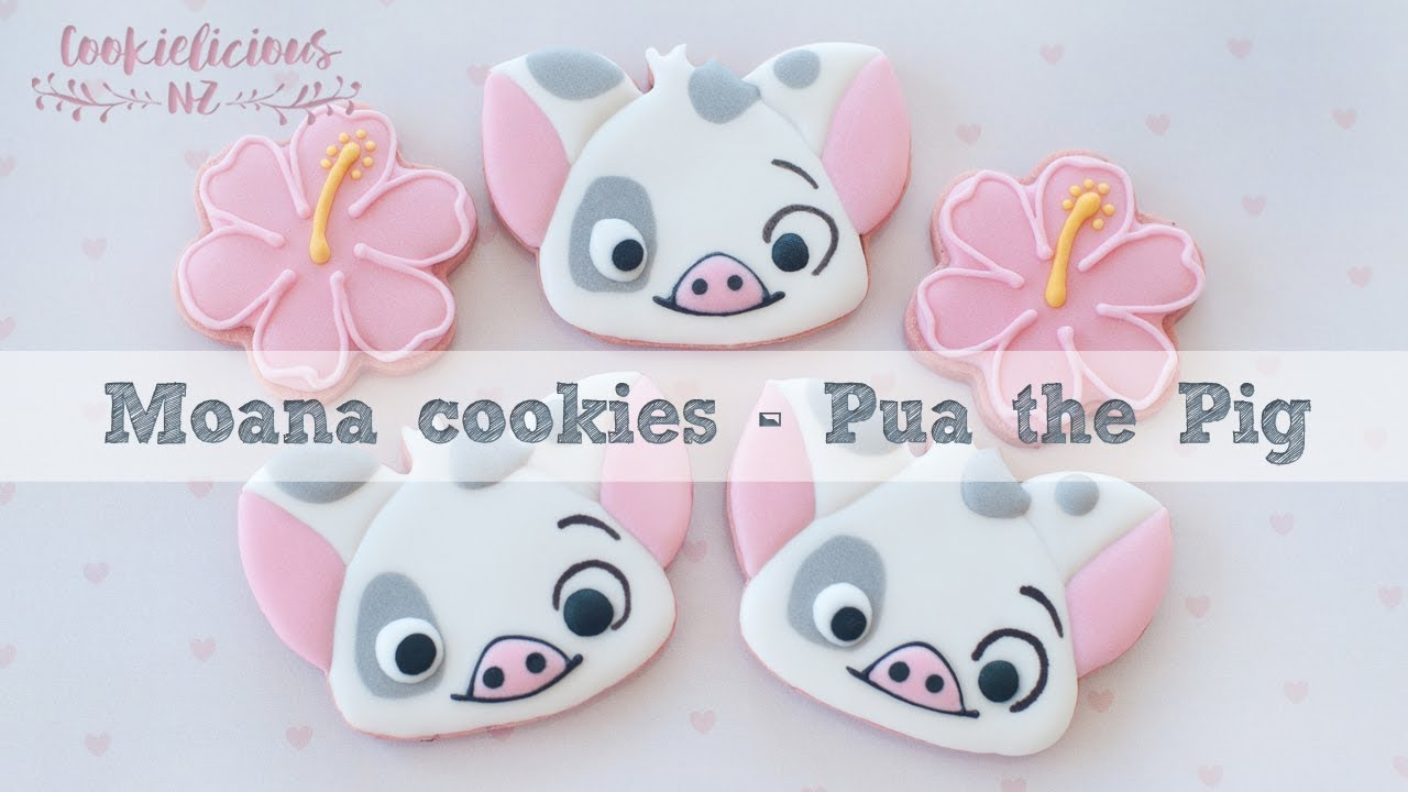 How To Make Pua The Pig Moana Decorated Cookies Tutorial Youtube