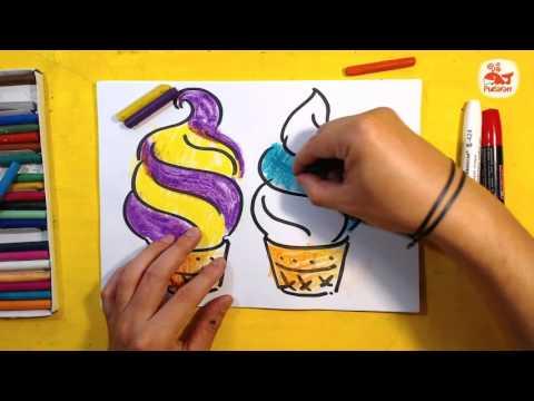 Как нарисовать МОРОЖЕНОЕ РОЖОК цветное / урок рисования для детей от 3 лет